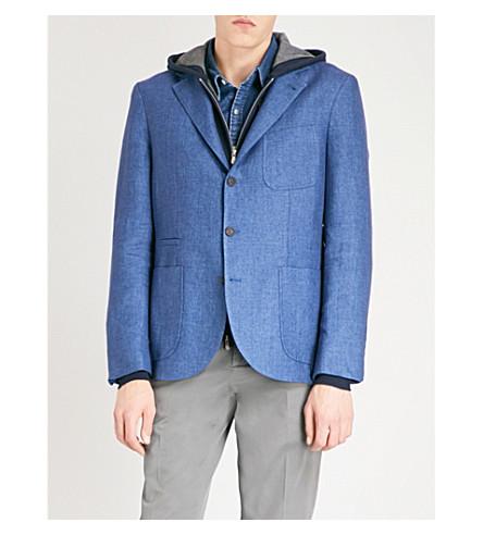 BRUNELLO CUCINELLI 常规版型亚麻夹克 (靛蓝 + 蓝色)