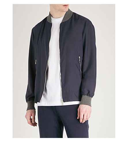 BRUNELLO CUCINELLI Contrast-trim silk bomber jacket (Navy