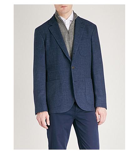 BRUNELLO CUCINELLI Tailored-fit wool, linen and silk-blend jacket (Blue