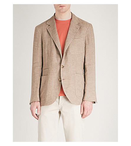 BRUNELLO CUCINELLI Striped regular-fit linen jacket (Brown
