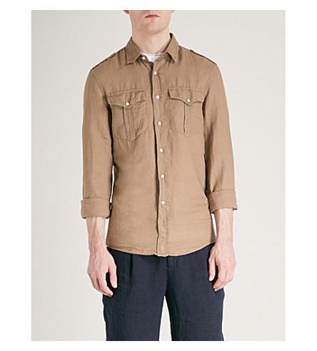 BRUNELLO CUCINELLI Pocket-detail leisure-fit linen shirt (Brown