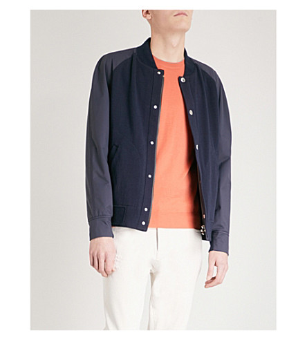 BRUNELLO CUCINELLI Contrast-sleeve cotton-blend bomber jacket (Blue+grey