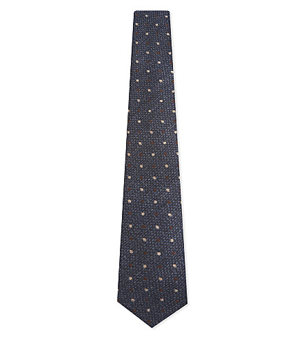BRUNELLO CUCINELLI Polka dot wool & silk tie (Blue