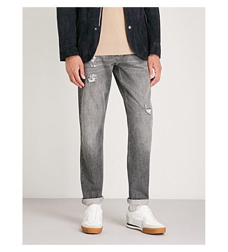 BRUNELLO CUCINELLI Distressed regular-fit straight jeans (Dark+grey