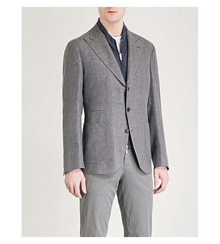 BRUNELLO CUCINELLI Hopsack regular-fit linen, wool and silk-blend jacket (Grey