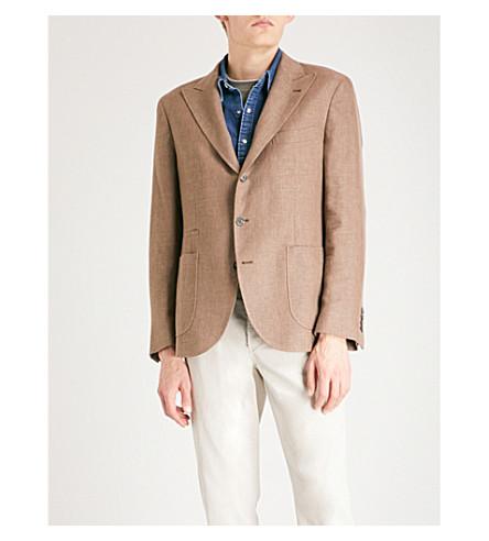 BRUNELLO CUCINELLI Hopsack regular-fit linen, wool and silk-blend jacket (Tobacco