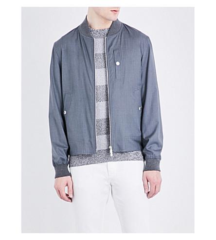 BRUNELLO CUCINELLI Wool and silk-blend jacket (Gunmetal