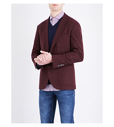 BRUNELLO CUCINELLI Regular-fit wool and cashmere-blend jacket (Burgundy