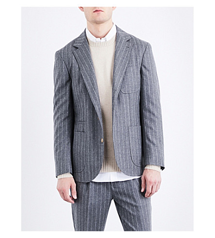 BRUNELLO CUCINELLI Pinstripe slim-fit wool jacket (Mid+grey