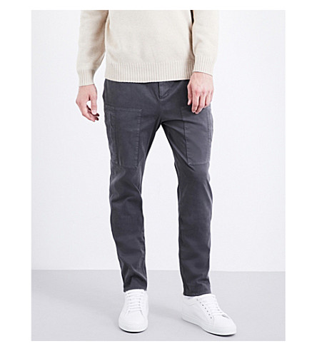 BRUNELLO CUCINELLI Leisure-fit stretch-cotton-twill trousers (Mid+grey