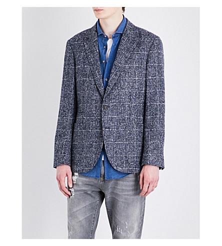 BRUNELLO CUCINELLI Micro-checked alpaca jacket (Blue