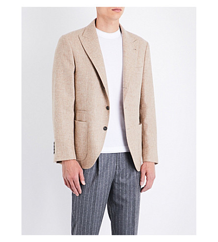 BRUNELLO CUCINELLI Slim-fit alpaca-blend jacket (Camel
