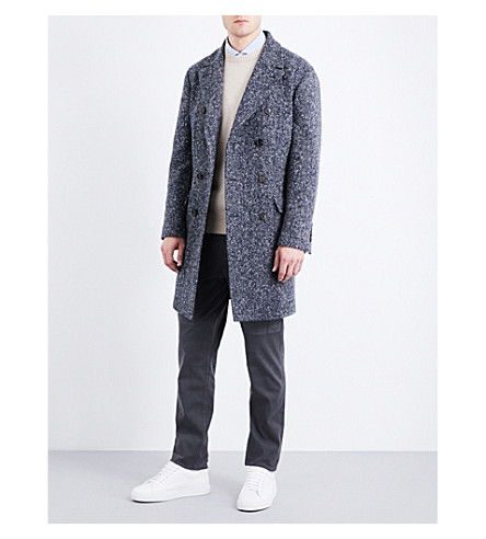 BRUNELLO CUCINELLI Double-breasted wool-blend tweed coat (Blue