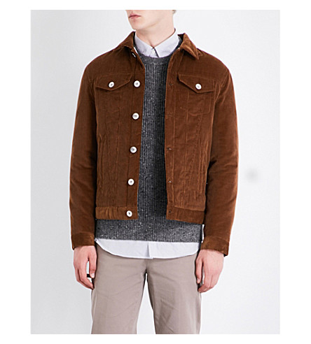 BRUNELLO CUCINELLI Silk-blend corduroy trucker jacket (Brown