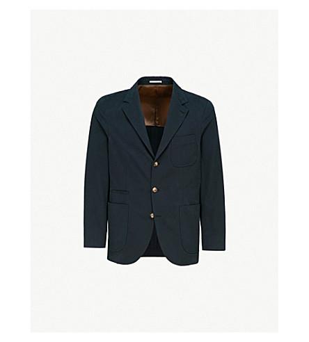 BRUNELLO CUCINELLI Slim-fit wool and cotton-blend blazer (Navy