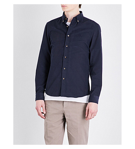 BRUNELLO CUCINELLI Leisure-fit button-down cord shirt (Navy