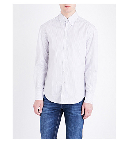BRUNELLO CUCINELLI Striped button-down cotton shirt (Grey