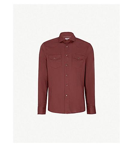 BRUNELLO CUCINELLI 常规版型棉帆布衬衫 (勃艮第