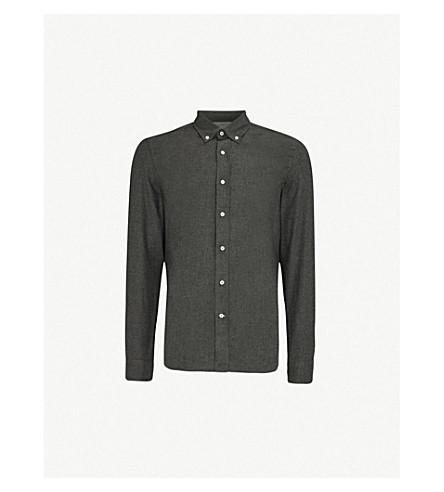 BRUNELLO CUCINELLI 休闲合身的拉丝棉衬衫 (木炭