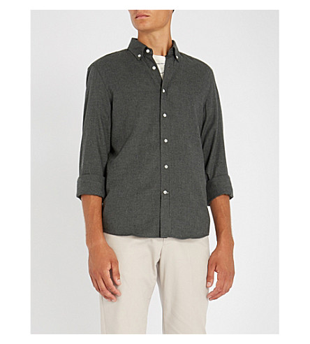 BRUNELLO CUCINELLI Leisure-fit brushed-cotton shirt (Charcoal