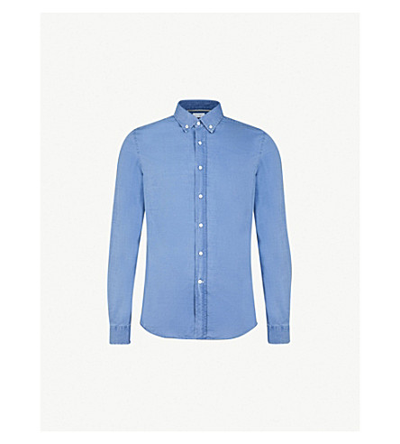 BRUNELLO CUCINELLI 休闲装亚麻花格子布衬衫 (中 + 蓝