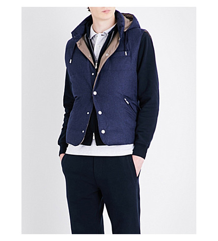 BRUNELLO CUCINELLI Removable hood wool-blend gilet (Navy