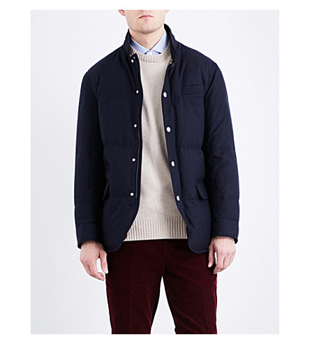 BRUNELLO CUCINELLI Quilted down wool-blend coat (Navy