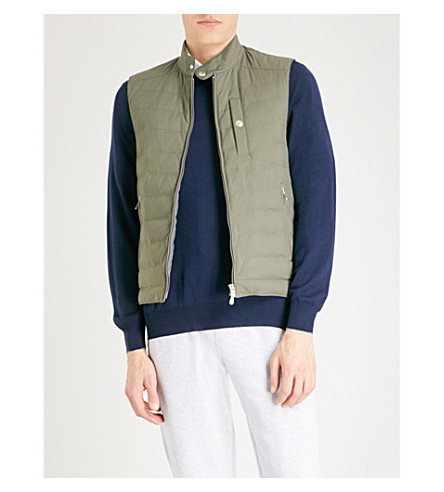 BRUNELLO CUCINELLI Biker quilted shell-down gilet (Army