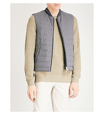 BRUNELLO CUCINELLI Reversible quilted shell-down gilet (Grey