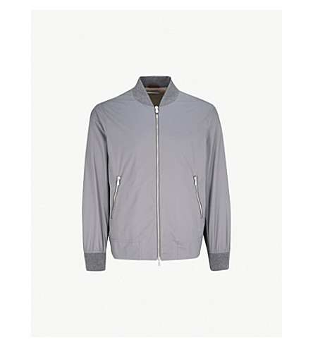 BRUNELLO CUCINELLI Stand-collar shell bomber jacket (Dk+grey