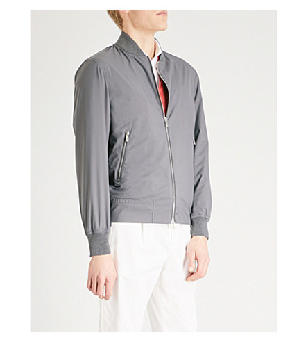BRUNELLO CUCINELLI Stand-collar shell bomber jacket (Grey