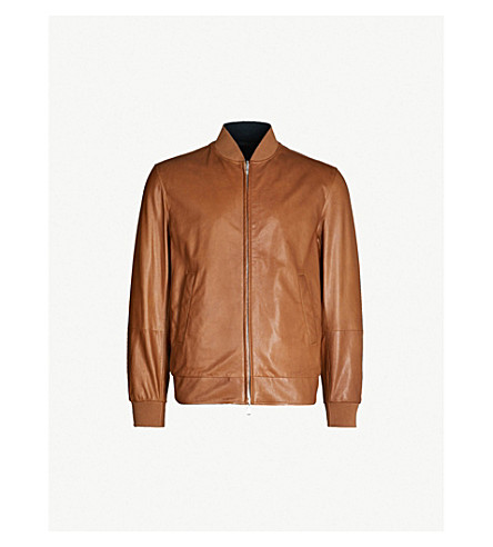 BRUNELLO CUCINELLI Reversible leather and shell bomber jacket (Tobacco