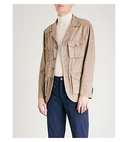 BRUNELLO CUCINELLI Flap-pocket suede jacket (Brown+grey