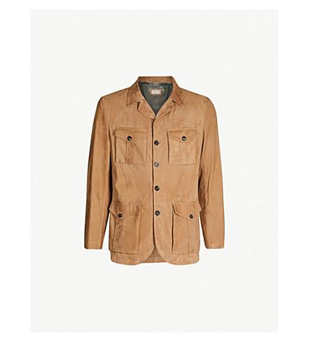 BRUNELLO CUCINELLI Patch-pocket suede field jacket (Caramel