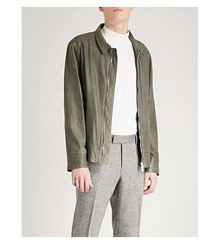 BRUNELLO CUCINELLI Distressed leather jacket (Green+grey