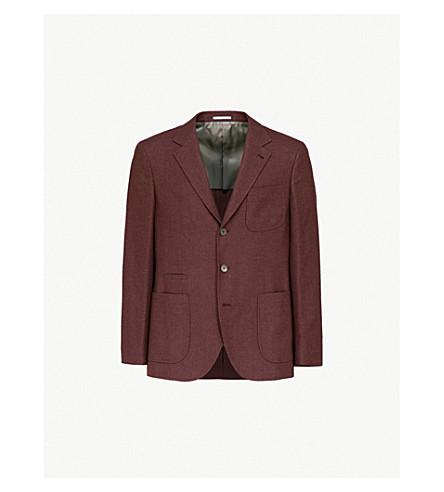 BRUNELLO CUCINELLI Hopsack regular-fit cashmere and silk-blend blazer (Burgundy