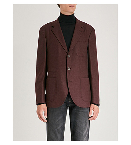 BRUNELLO CUCINELLI Hopsack regular-fit cashmere and silk-blend blazer (Burgundy