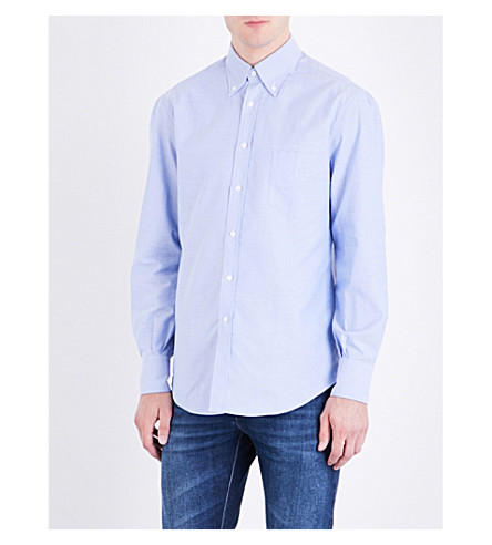 BRUNELLO CUCINELLI Regular-fit cotton Oxford shirt (Sky+blue