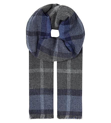 BRUNELLO CUCINELLI Cashmere check scarf (Blue