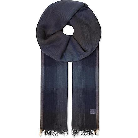 BRUNELLO CUCINELLI Degrade plaid scarf (Blue