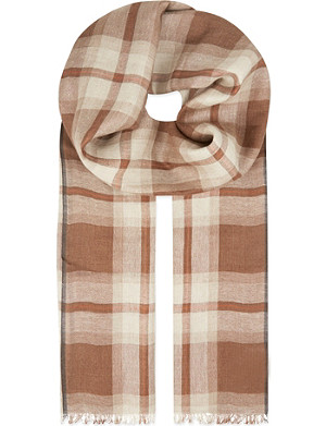 BRUNELLO CUCINELLI Luxury plaid linen cashmere scarf
