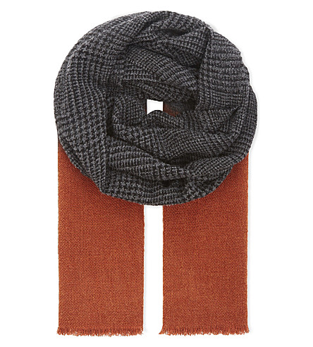 BRUNELLO CUCINELLI Dogtooth blended hue cashmere scarf (Grey/orange