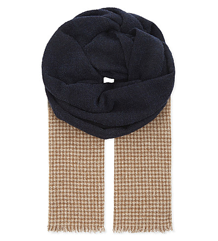 BRUNELLO CUCINELLI Dogtooth blended hue cashmere scarf (Navy/beige