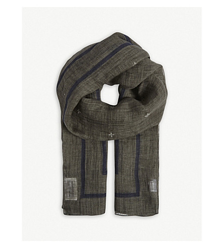 BRUNELLO CUCINELLI Textured linen scarf (Military+green