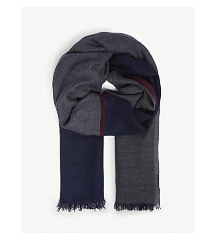 BRUNELLO CUCINELLI Oversized check cashmere-silk scarf (Blue