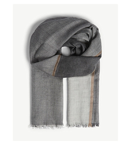 BRUNELLO CUCINELLI Oversized check cashmere-silk scarf (Grey