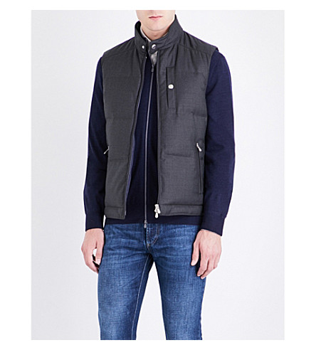 BRUNELLO CUCINELLI Goose feather-filled wool gilet (Grey