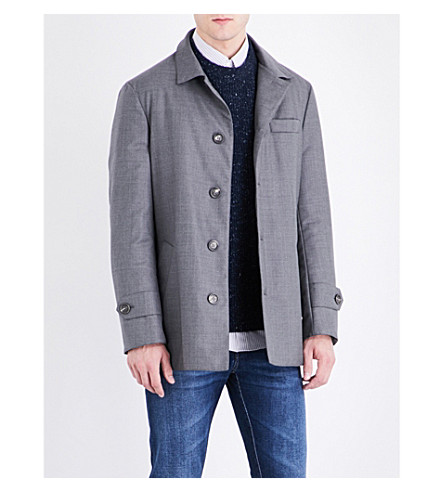BRUNELLO CUCINELLI Button-up wool raincoat (Grey