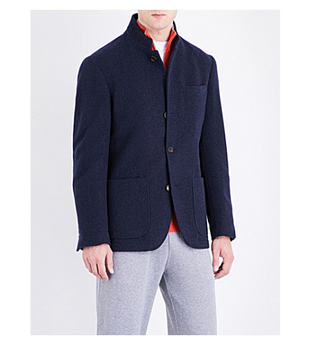 BRUNELLO CUCINELLI Single-breasted cashmere jacket (Navy