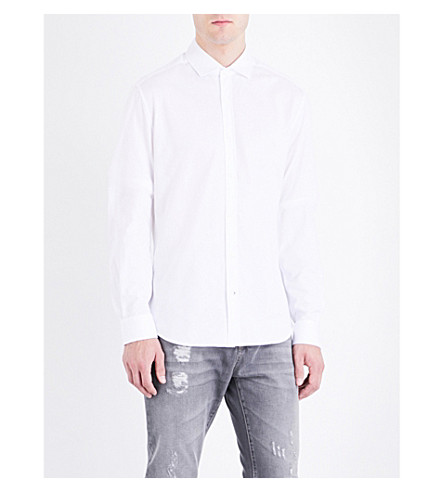 BRUNELLO CUCINELLI Single-cuff cotton-jersey shirt (White